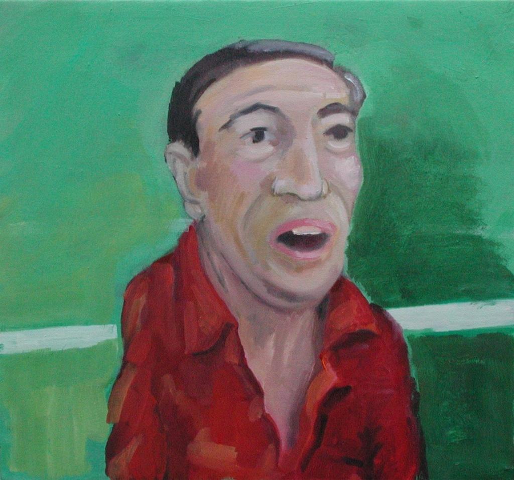 Alex Zwalen, aus der Serie «Steve und sini Fründe lueged de Match», 2005, Tafelbild, Oel/Dispersion auf Holz, ca. 40 x 40 cm