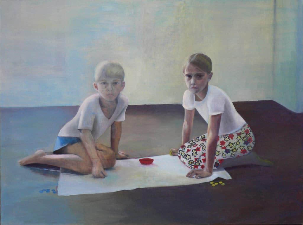Andrea Muheim, «Miro und Tizia», Öl auf Leinwand, 120 x 160 cm, 2005
