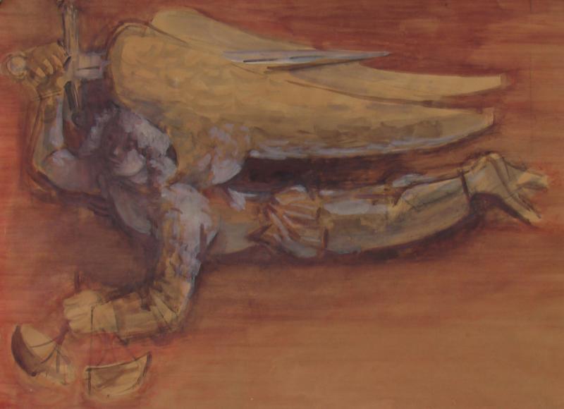 Heinrich-Danioth_Fliegender-Engel-mit-Schwert-und-Waagschale-(St. Michael ?)-1951