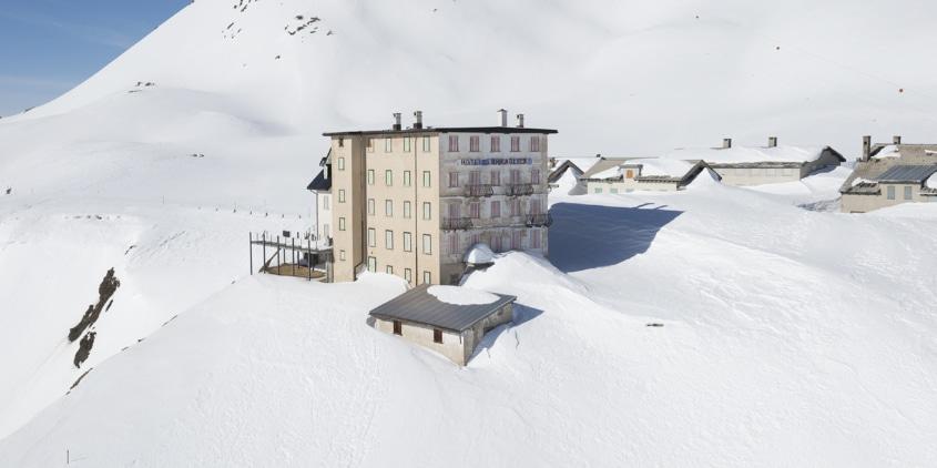 Im Winter ist das Hotel Furkablick unzugänglich und geschlossen.
